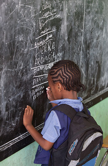I child writing on a chalkboard with a backpack on.