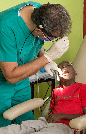 A young child getting a dental check-up